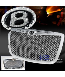 Решетка радиатора 05-10 CHRYSLER 300/300C CHROME HONEYCOMB GRILLE+CRYSTAL B EMBLEM BADGE
